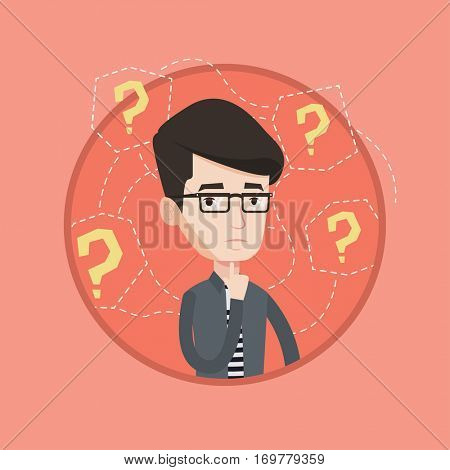 Businessman standing under question marks. Young businessman thinking. Thoughtful businessman surrounded by many question marks. Vector flat design illustration in the circle isolated on background.