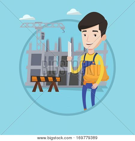 Engineer with blueprint at construction site. Man holding twisted blueprint and hard hat. An engineer checking construction works. Vector flat design illustration in the circle isolated on background.
