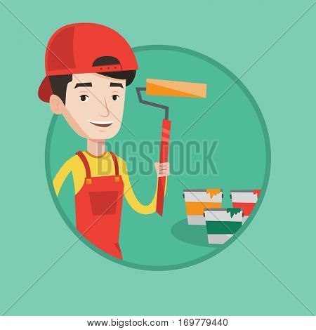 Happy painter in uniform holding a paint roller in hands. Young cheerful painter at work. Smiling painter standing near paint cans. Vector flat design illustration in the circle isolated on background