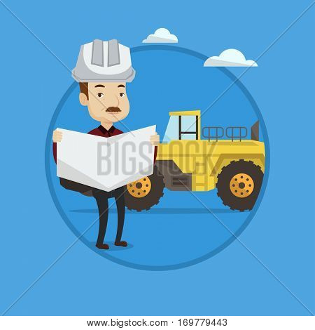 Engineer in helmet watching a blueprint. Adult caucasian engineer in hard hat holding a blueprint on the background of excavator. Vector flat design illustration in the circle isolated on background.