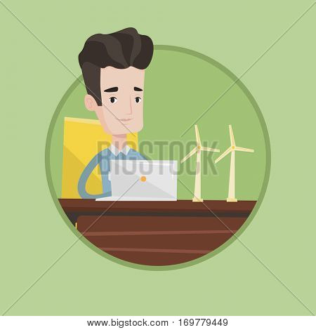 Engineer projecting wind turbines in his office. Engineer working with models of wind turbines. Green renewable energy concept. Vector flat design illustration in the circle isolated on background.