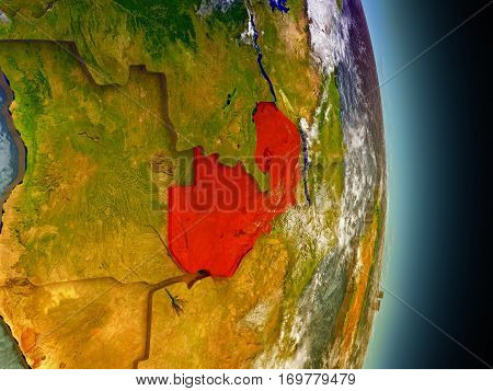 Zambia In Red From Space