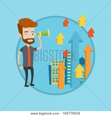 Businessman looking through spyglass at arrows going up. Businessman looking for business opportunities. Business vision concept. Vector flat design illustration in the circle isolated on background.