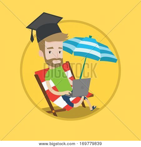 Hipster caucasian graduate in graduation cap using laptop on a beach. Student learning distantly. Distance learning concept. Vector flat design illustration in the circle isolated on background.