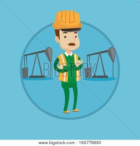 Oil worker in uniform and helmet. Cnfident oil worker standing with crossed arms. Oil worker standing on background of pump jack. Vector flat design illustration in the circle isolated on background.