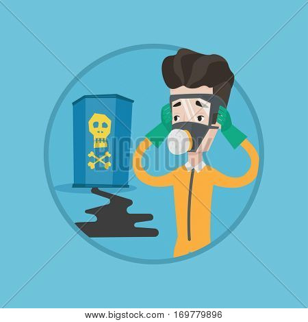 Concerned man in respirator and radiation protective suit clutching his head. Man looking at leaking barrel with radioactive sign. Vector flat design illustration in the circle isolated on background.