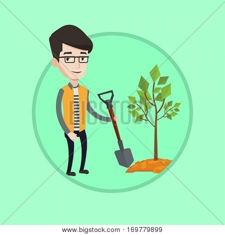 Smiling man plants a tree. Cheerful man standing with shovel near newly planted tree. Young caucasian man gardening with shovel. Vector flat design illustration in the circle isolated on background.