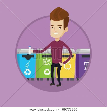 Happy man throwing away plastic bottle. Man throwing away plastic bottle in an appropriate bin. Concept of waste sorting plastic. Vector flat design illustration in the circle isolated on background.