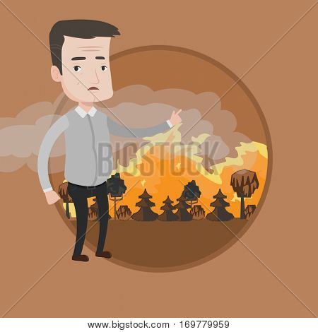 Frustrated man standing on the background of a big forest fire. Man pointing at forest fire. Concept of environmental destruction. Vector flat design illustration in the circle isolated on background.