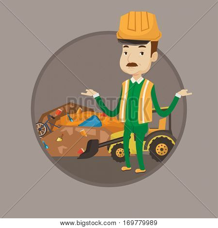 Worker standing with spread arms on the background of landfill. Bulldozer working on landfill. Concept of environmental pollution. Vector flat design illustration in the circle isolated on background.