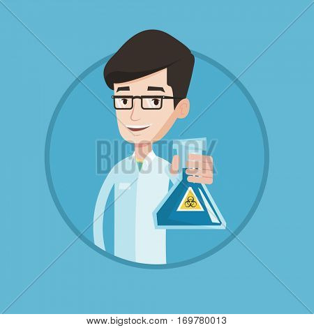 Young scientist holding a flask with biohazard sign. Smiling scientist in medical gown showing a flask with some liquid in it. Vector flat design illustration in the circle isolated on background.