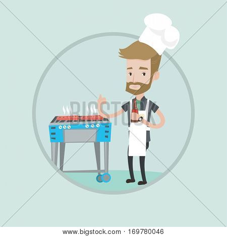 Young man with bottle in hand cooking meat on gas barbecue grill and giving thumb up. Hipster man cooking steak on barbecue grill. Vector flat design illustration in the circle isolated on background.