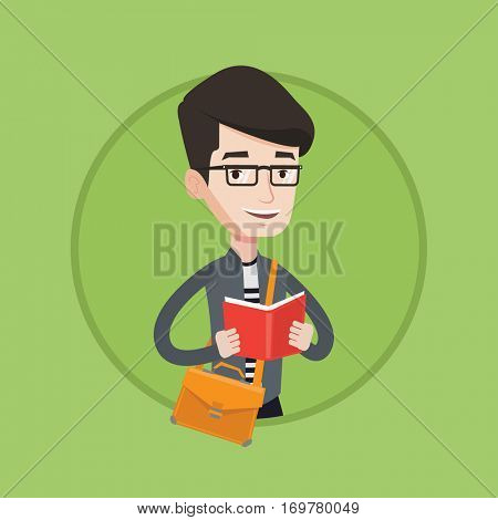 Smiling student reading a book. Cheerful male student reading a book and preparing for exam. Student standing with book in hands. Vector flat design illustration in the circle isolated on background.