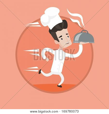 Caucasian chef in a cap and white uniform running. Young cheerful chef holding a cloche. Smiling chef fast running with a cloche. Vector flat design illustration in the circle isolated on background.