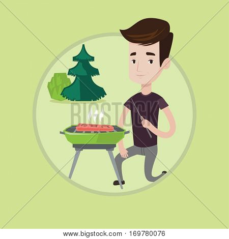Young man sitting next to barbecue grill in the park. Man cooking steak on barbecue grill outdoors. Man having a barbecue party. Vector flat design illustration in the circle isolated on background.