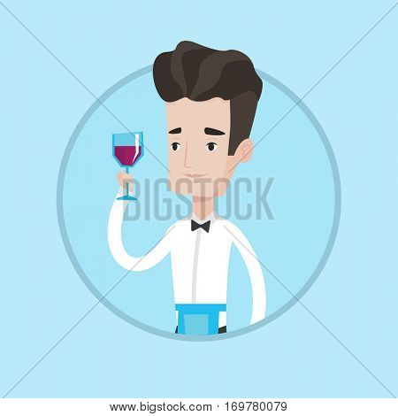 Young caucasian bartender holding a glass of red wine in hand. Bartender at work. Smiling bartender examining red wine in glass. Vector flat design illustration in the circle isolated on background.