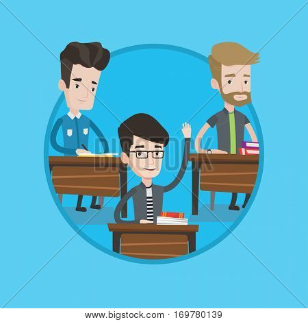 Student raising hand for an answer. Student sitting in classroom with raised hand. Clever schoolboy raising his hand at lesson. Vector flat design illustration in the circle isolated on background.
