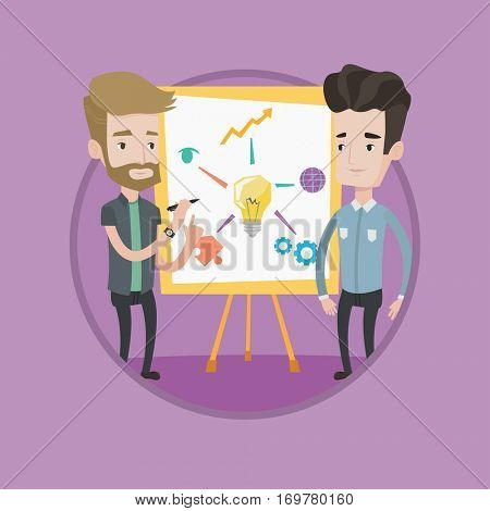 Two caucasian businessmen discussing a project. Businessmen working on project. Businessman drawing business project on a board. Vector flat design illustration in the circle isolated on background.
