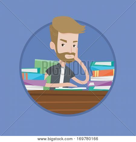 Bored student studying with textbooks. Caucasians student studying hard before the exam. Hipster student studying in the library. Vector flat design illustration in the circle isolated on background.