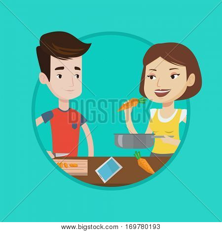 Happy couple cooking together lunch. Young couple preparing vegetable meal. Caucasian couple cooking healthy vegetable meal. Vector flat design illustration in the circle isolated on background.