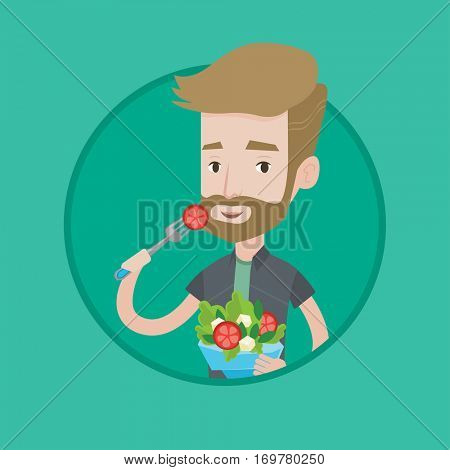 Hipster man eating healthy vegetable salad. Young man enjoying fresh vegetable salad. Man holding bowl full of organic salad. Vector flat design illustration in the circle isolated on background.