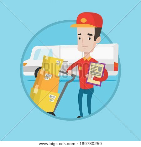 Caucasian delivery man with cardboard boxes on troley. Delivery man with clipboard. Courier standing in front of delivery van. Vector flat design illustration in the circle isolated on background