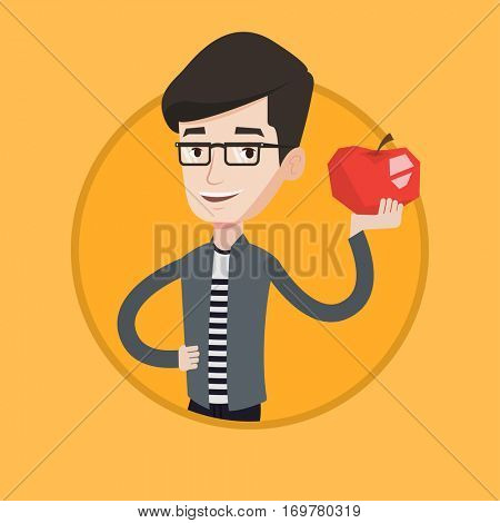 Young happy man holding an apple in hand. Cheerful man eating an apple. Smiling caucasian man enjoying fresh healthy red apple. Vector flat design illustration in the circle isolated on background.