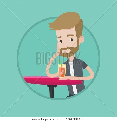 Hipster upset man with beard sitting at the bar with cocktail. Caucasian sad man sitting alone at the bar and drinking cocktail. Vector flat design illustration in the circle isolated on background.