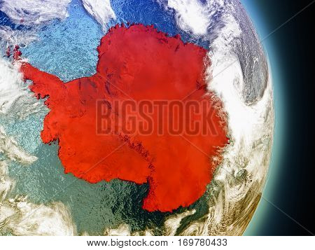 Antarctica In Red From Space
