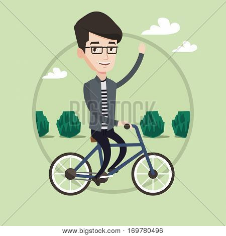 Sportive man riding a bicycle in the park. Caucasian cyclist riding a bicycle and waving his hand. Young man on a bicycle outdoors. Vector flat design illustration in the circle isolated on background