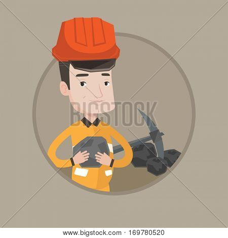 Caucasian miner in hard hat holding coal in hands. Miner with a pickaxe. Man working at coal mine. Young happy miner at work. Vector flat design illustration in the circle isolated on background.