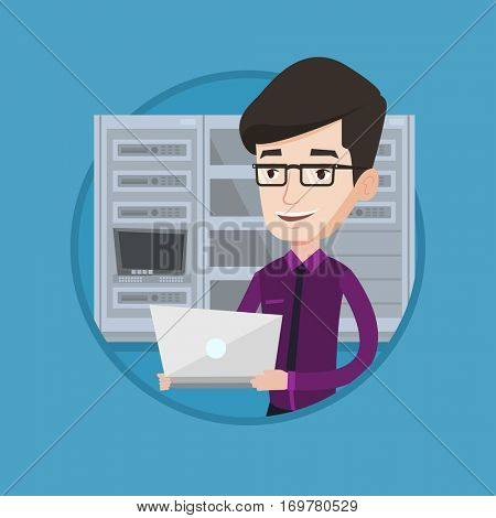 Caucasian engineer with laptop working in network server room. Young smiling network engineer using laptop in server room. Vector flat design illustration in the circle isolated on background.