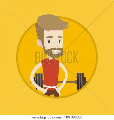 Man measuring his waistline with a tape. Man measuring with tape the abdomen. Happy caucasian man with centimeter on a waist. Vector flat design illustration in the circle isolated on background.