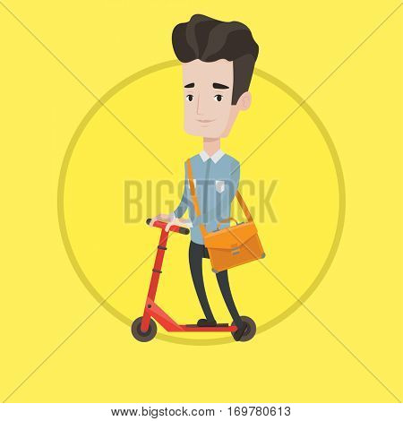 Young man riding a kick scooter. Businessman with briefcase riding to work on kick scooter. Caucasian man on kick scooter. Vector flat design illustration in the circle isolated on background.