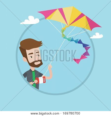 Hipster man with the beard flying a colourful kite. Caucasian yung happy man controlling a kite. Cheerful guy playing with kite. Vector flat design illustration in the circle isolated on background