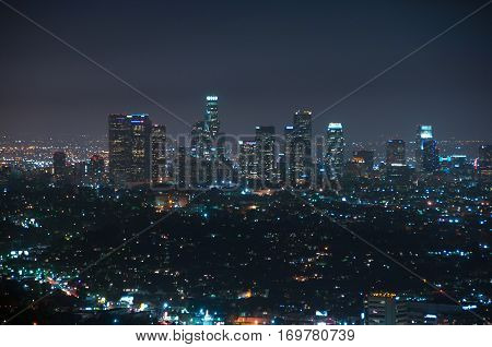 Los Angeles at night, California, United States