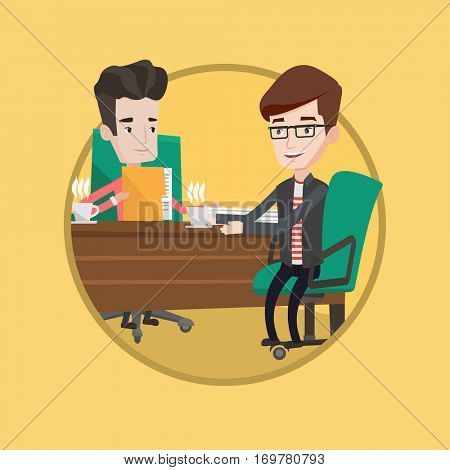 Businessmen talking on business meeting. Businessmen drinking coffee on business meeting. Two businessmen during business meeting. Vector flat design illustration in the circle isolated on background.