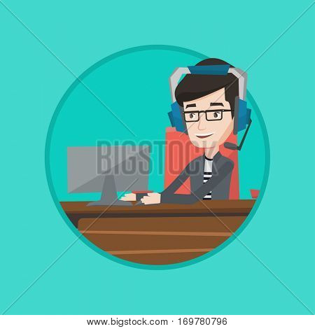 Man playing video game on computer. Businessman during video conference in office. Businessman with headset working on computer. Vector flat design illustration in the circle isolated on background.