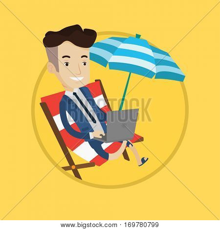 Caucasian businessman in suit working on beach. Businessman sitting in chaise lounge under beach umbrella and working on a laptop. Vector flat design illustration in the circle isolated on background.