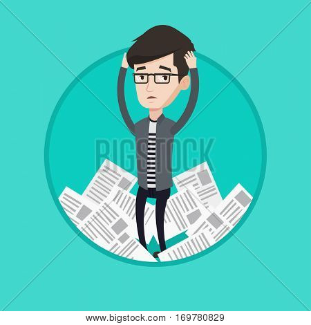 Businessman having a lot of paperwork. Businessman surrounded by lots of papers. Businessman standing in the heap of papers. Vector flat design illustration in the circle isolated on background.
