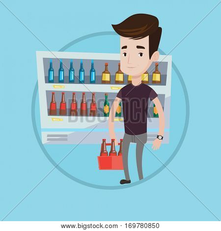 Man standing in alcohol store with pack of beer on the background of refrigerator with bottles of beer. Caucasian man bying beer. Vector flat design illustration in the circle isolated on background.