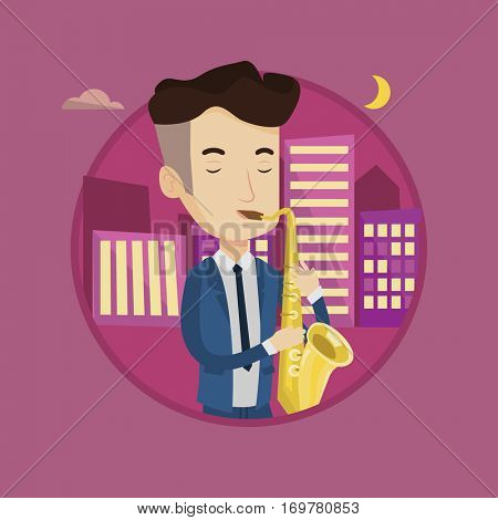 Musician playing on saxophone. Man with his eyes closed playing on saxophone in the night. Man with saxophone in the city street. Vector flat design illustration in the circle isolated on background.