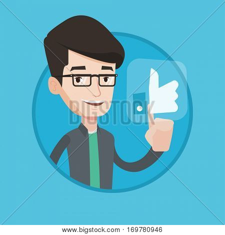 Man pressing like button. Man pressing social like button with thumb up. Caucasian smiling man pressing social network button. Vector flat design illustration in the circle isolated on background.