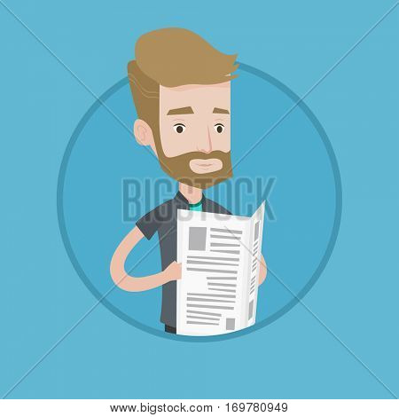 Hipster man with beard reading newspaper. Young smiling man reading good news in newspaper. Man standing with newspaper in hands. Vector flat design illustration in the circle isolated on background.