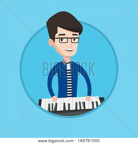 Young smiling musician playing piano. Pianist playing upright piano. Caucasian male pianist playing on synthesizer. Vector flat design illustration in the circle isolated on background.