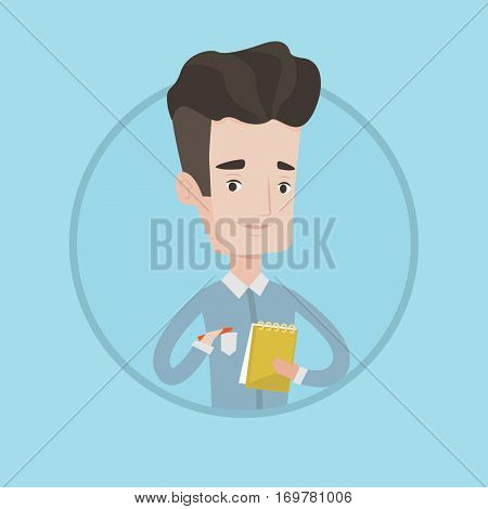 Young journalist writing in notebook. Journalist writing notes with pencil. Caucasian male journalist writing notes in the notepad. Vector flat design illustration in the circle isolated on background