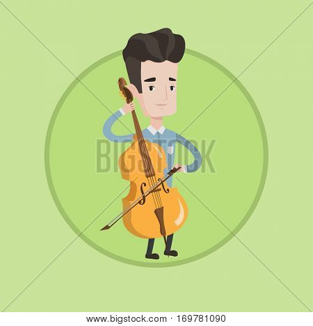 Young happy caucasian musician playing cello. Cellist playing classical music on cello. Young smiling musician with cello and bow. Vector flat design illustration in the circle isolated on background.