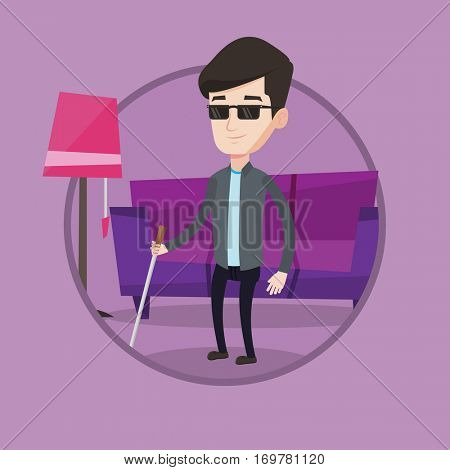 Young blind man standing with walking stick. Blind man in dark glasses standing with cane at home. Blind man walking with stick. Vector flat design illustration in the circle isolated on background.