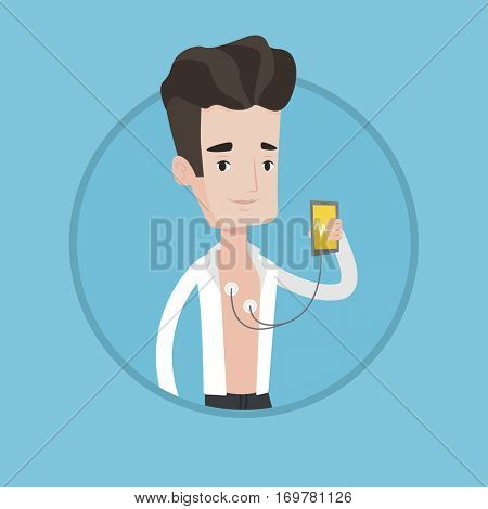 Young man checking his blood pressure with smartphone application. Caucasian man measuring heart rate pulse with smartphone app. Vector flat design illustration in the circle isolated on background.