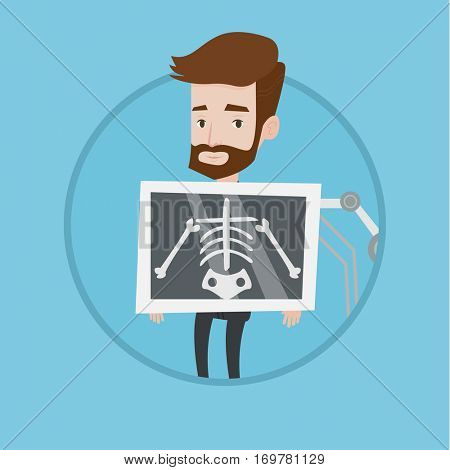 Young hipster patient during chest x ray procedure. Man with x ray screen showing his skeleton. Patient visiting roentgenologist. Vector flat design illustration in the circle isolated on background.